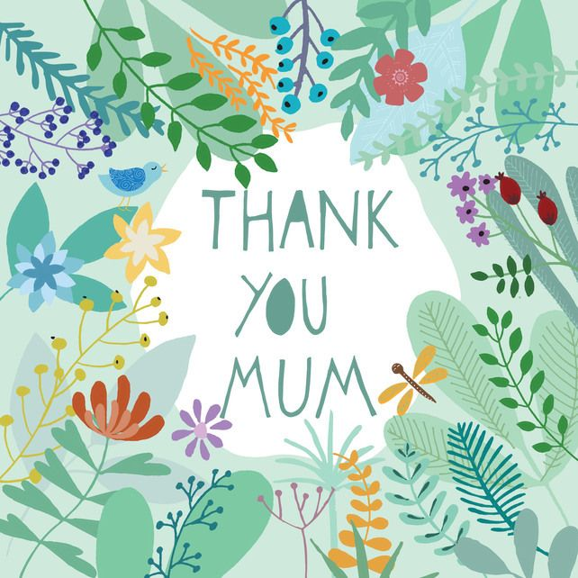 Mothers Day Card 'Thank You Mum'- Square card £2.50