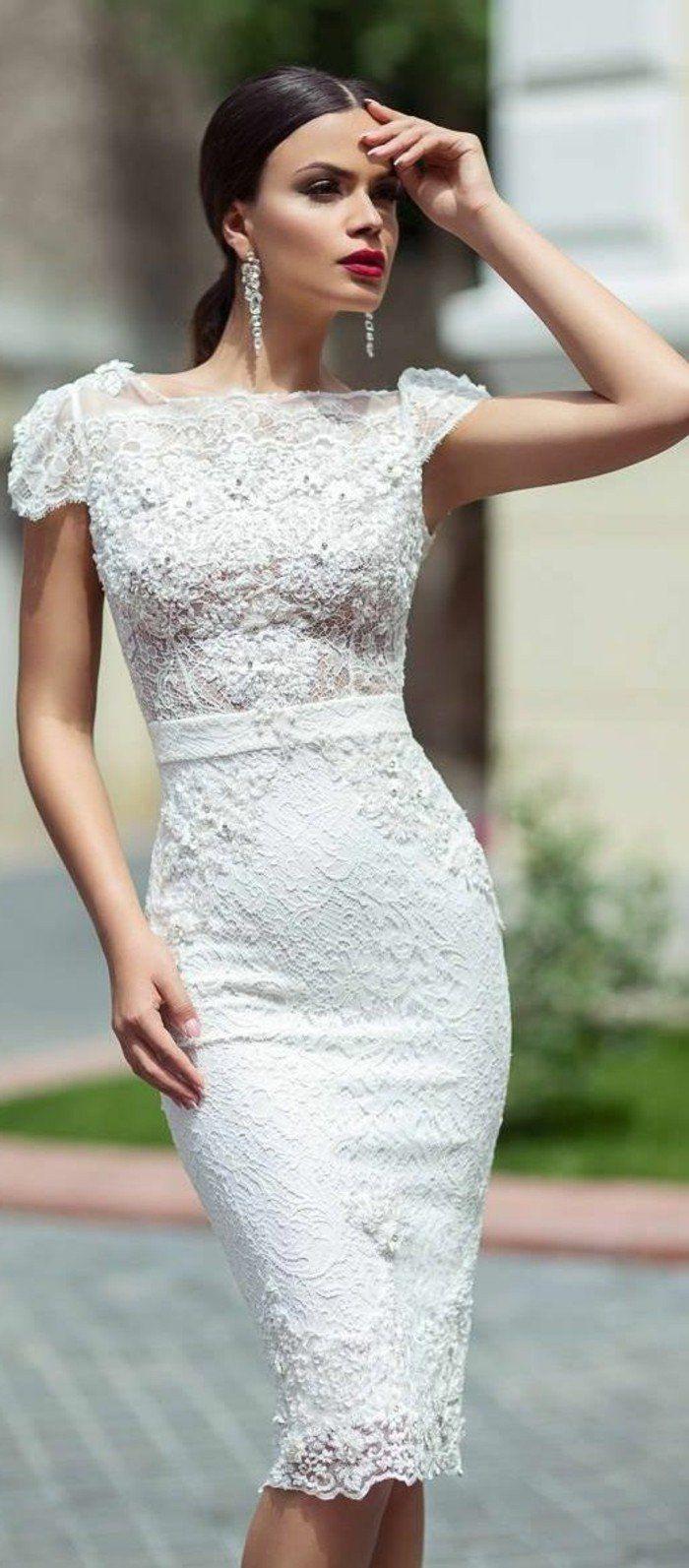 robe de mariée courte en dentelle, tendances vetement ceremonie femme
