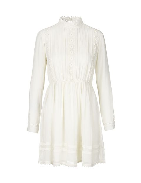 Beautiful and feminine Wanda Wind with high neck   http://mbym.dk/products/wanda-white-dress-with-laces