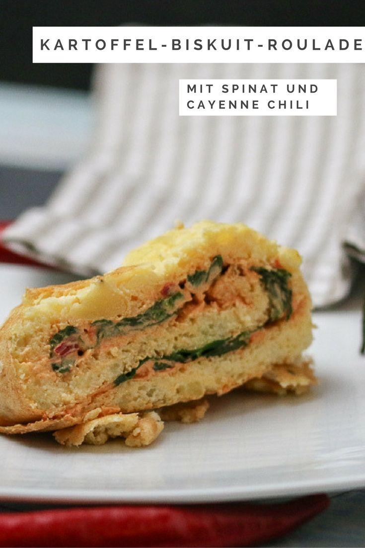 Kartoffel-Biskuit-Roulade mit Cayenne Chili – Creme