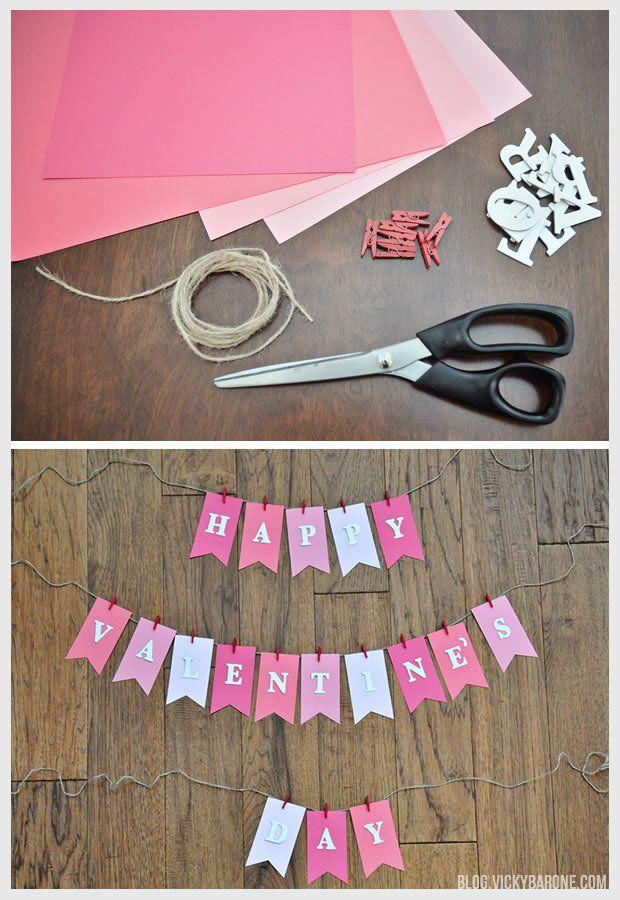 DIY Valentine's Day Garland   Vicky Barone   DIY Valentine's Day crafts   easy valentine's day decor   vday   pink white red   bunting