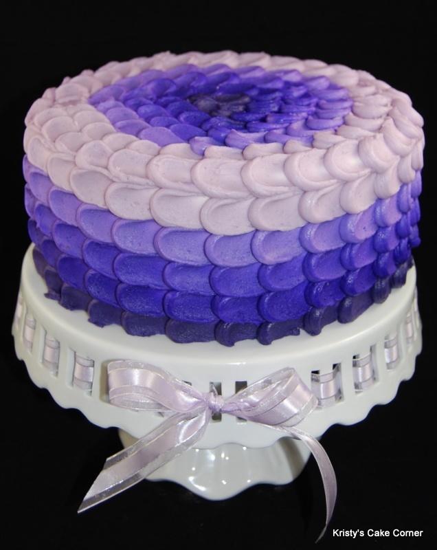 Petal Effect - Multicolored purple petal effect cake.