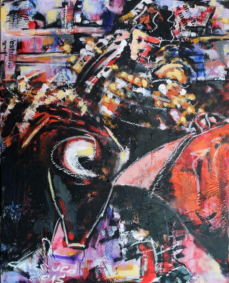 """Toureiro"" / ""Bullfighter"" Técnica mista sobre tela / Mixed media on canvas 100 x 80 cm 2015"