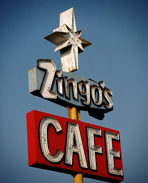 Cool Retro Signs: Zingo's Cafe in Bakersfield CA.