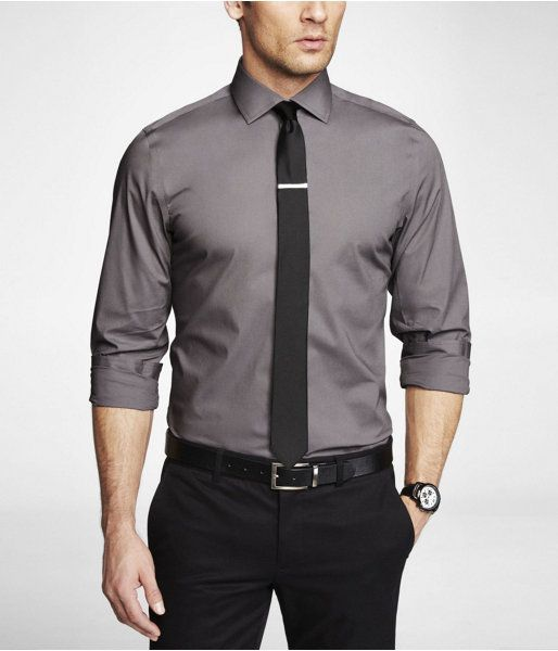 1074473600f Express Mens Modern Fit 1Mx Spread Collar Shirt Steel Gray