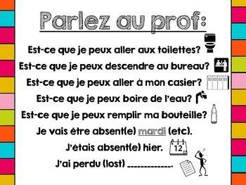 Printable French Classroom Poster - Parlez au Prof! / Phra