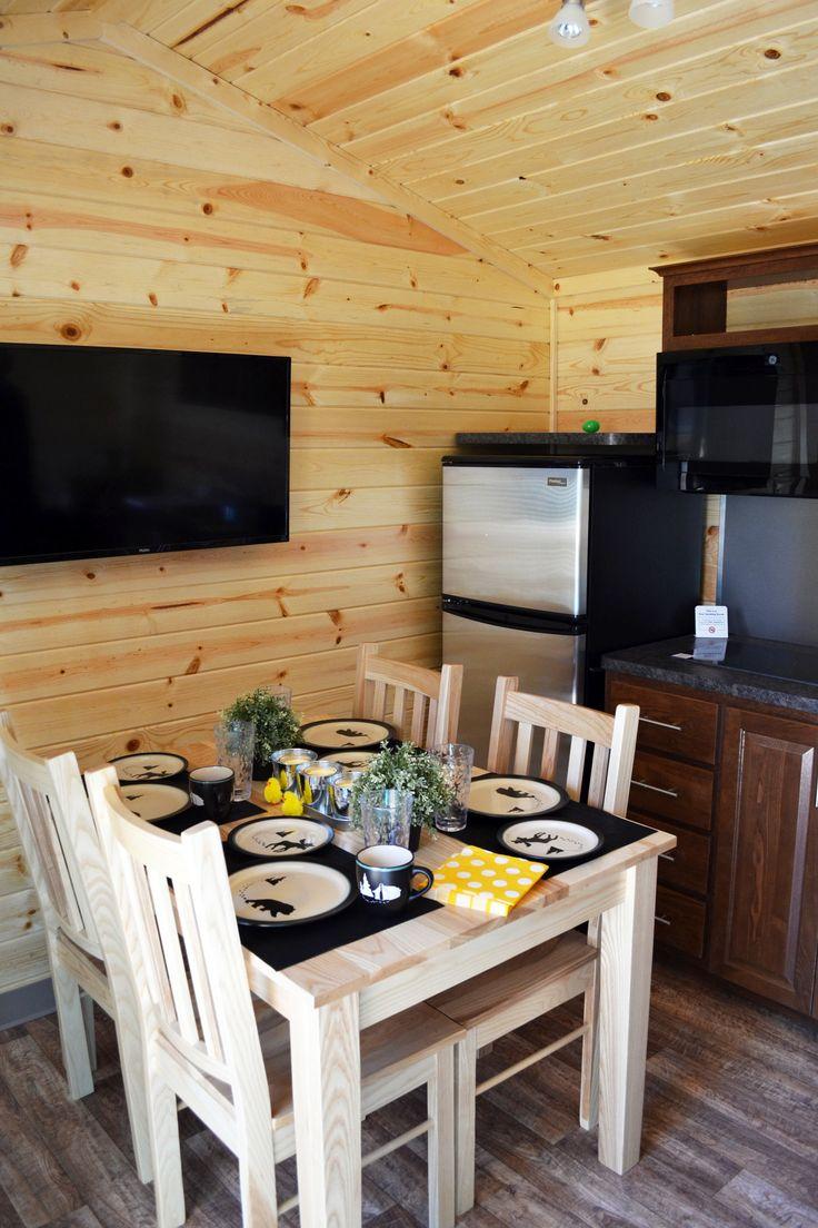 Chilliwack #Cabin kitchen with full fridge, cooktop and a microwave  #Glamping #Camping #KOA #TWKOA #GTA #GTAgetaway #CampbellvilleON #MiltonOn