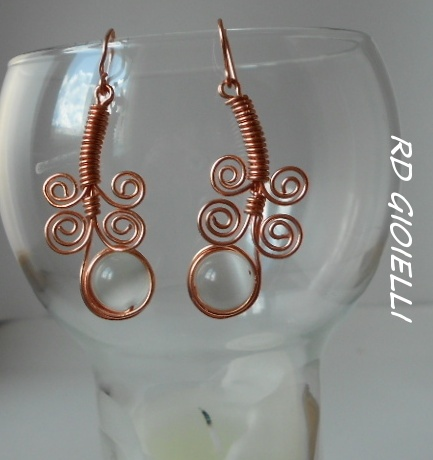 Copper and cat eye beads