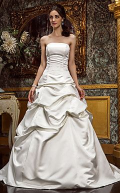 A-line Strapless Princess Sweep/Brush Train Satin Wedding D... – USD $ 199.99