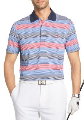 Izod Men's Short Sleeve Infinity Auto Stripe Jersey Polo Shirt - Bright White - 2Xl