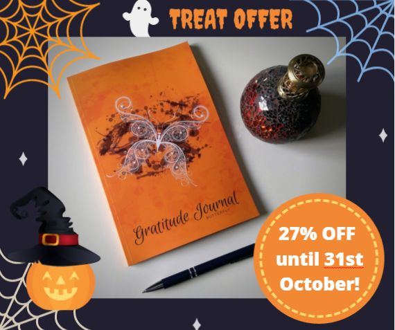 Looking for a treat or gift idea this Halloween season? Give the gift of gratitude. Only 3 days left to get 27% off your Gratitude Journal Butterfly. Save $1.94/£1.94 per journal on the 6 new colours! Get your early stocking fillers for your loved ones and save money. Available on Amazon worldwide!  Follow this link to see all the new colours: http://goo.gl/1QYGHG #GratitudeJournalButterfly #HalloweenTreat