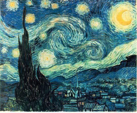 se trata de la obra cielo estrellado de Van Gogh,está realizada mediante pinceles.