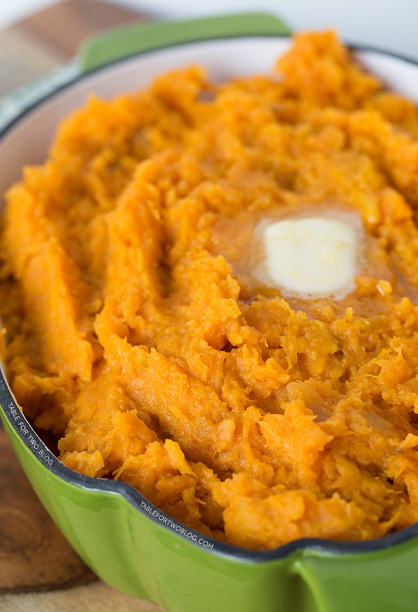 Mashed sweet potatoes are a great alternative to the traditional mashed potato! Love the sweetness to these!: