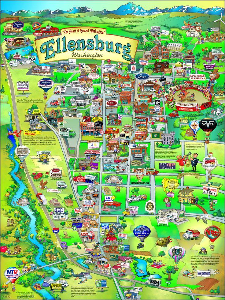 Ellensburg, Washington fun map