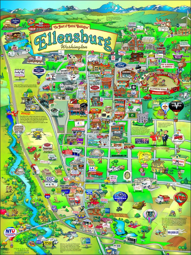 Ellensburg, Washington fun map