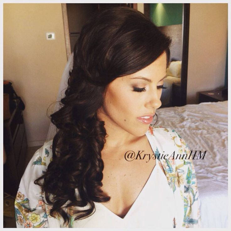 This gorgeous bride!!!  Hair + Makeup: www.krystieann.com Location: NOW Larimar Punta Cana  Bridal hair, wedding hair, wedding hairstyles, bridal hairstyles, brunette updo, curls, bridal curls, side swept hair, side swept curls, hollywood hair, punta cana brides, punta cana weddings