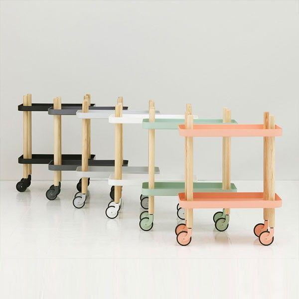 Normann Copenhagen Block Table - Light Grey - wooden serving trolley