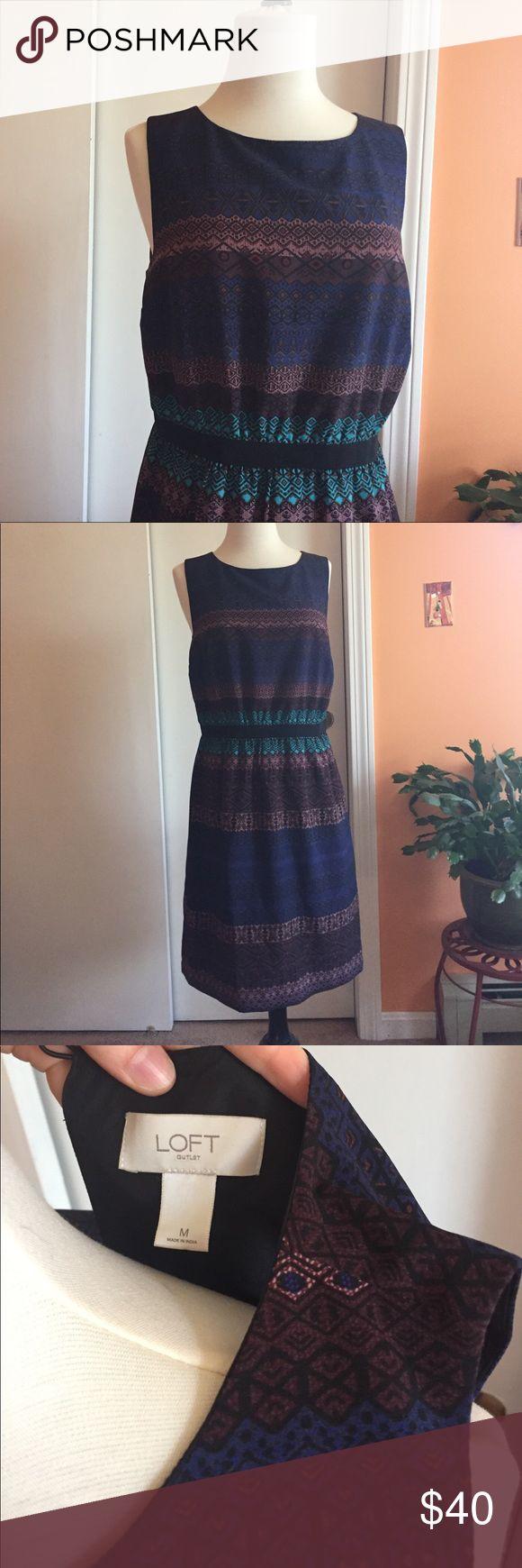 Loft multi color dress Patterned loft dress, great for work. LOFT Dresses Mini