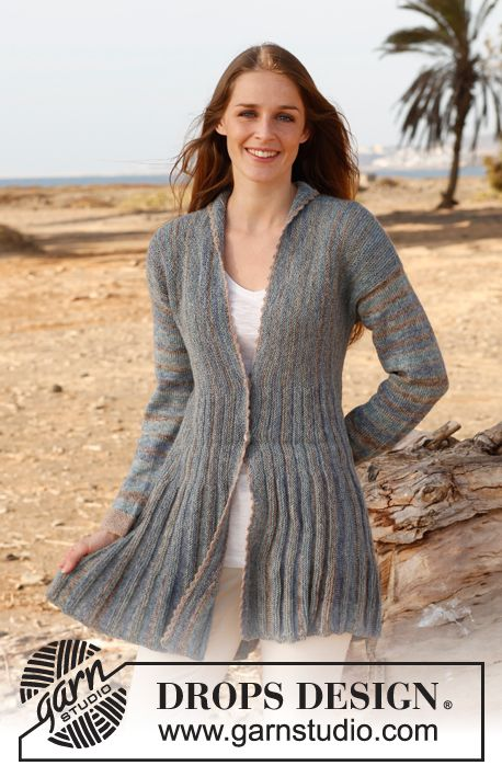 Free Knitting Pattern Short Jacket : Free pattern: Knitted DROPS jacket with short rows and shawl collar in