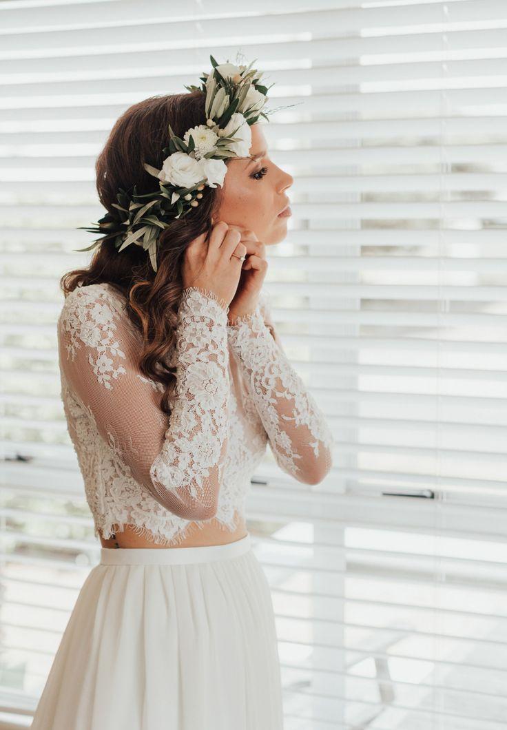two-piece lace wedding dress