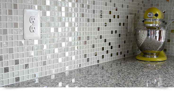 New caledonia gray granite glass metal kitchen backsplash tile