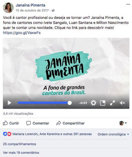 Post para divulgação do Curso Self-Vocal, de Janaína Pimenta.