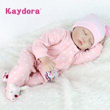 Kaydora 55 cm Reborn Babypoppen Levensechte poppen voor meisjes pop Reborn Zachte Siliconen boneca bebe reborn Kerst speelgoed voor meisjes(China)