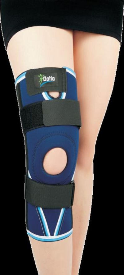 Knee orthosis KT 3-8-5  Recommended for use: in case of strain and tear knee joint ligaments.  Product features:  - made of neoprene, featuring compression and warming effect;  - 4 spiral steel bones (2 on each side) for enhanced stability;  - additional detachable straps for fixation strength adjustment.  Composition: polymeric fabric 90 %, nylon 10 %.
