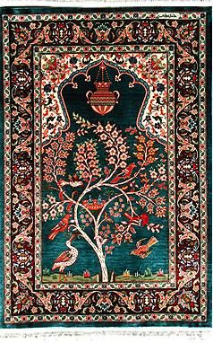 Hereke Silk Rug  ----    The town of Hereke itself was established a mere 200 years ago by the Sultans as a production center for the ultimate sensual luxury , the all silk carpet.