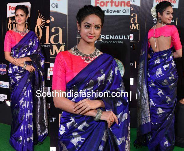Shanvi Srivastava in a traditional blue silk saree at iifa utsavam awards 2017