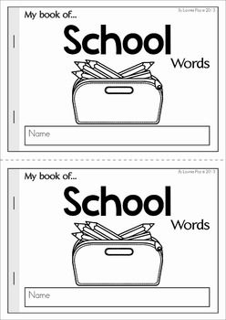 My Book of... School Words. A Back to School themed vocabulary half-page booklet to help students learn new words! A wonderful resource for ESL too!