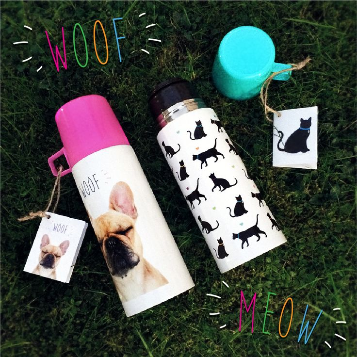 "Nerezová termoska 350ml, design Kočka ""I Love My Cat"" & WOOF Bulldog #termoska #pes #kocka #pet #giftideas"