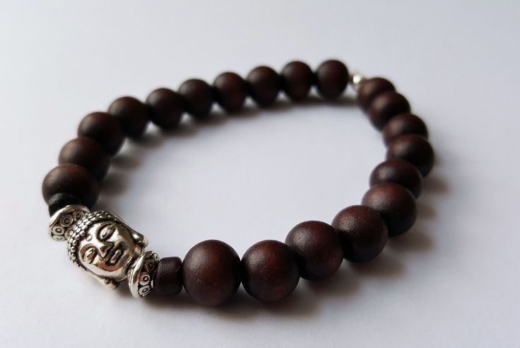 Unisex Wooden Buddha Bracelet by Wild Lotus Jewellery
