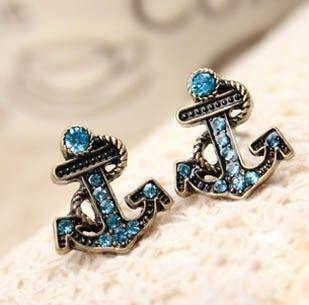Vintage Rhinestone Anchor Stud Earrings