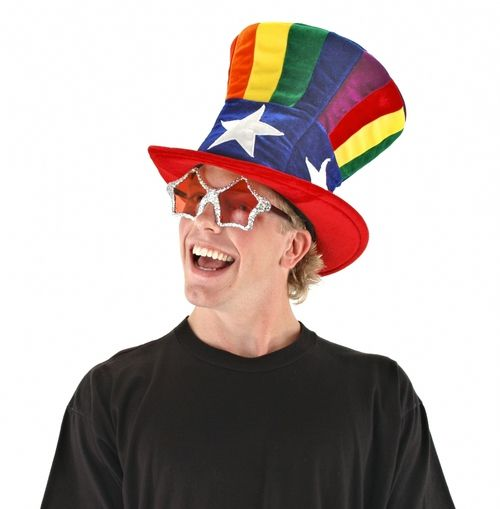 """Rainbow And White Star Top Hat - Wear this super fun and colorful plush velvet rainbow top hat to """"top"""" off your costume this Halloween.The top of the hat has vertical rainbow stripes, with a thick blue hat band on the bottom that has 4 white stars around it. The brim of the hat is wired and is a red velvet. The inside of the hat features a velcro size adjuster making it able to fit a variety of head sizes, and a secret pocket with a fortune just for you. #costume #yyc #hat #clown #halloween"""