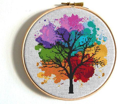 Four Seasons Cross stitch pattern Watercolor Rainbow cross