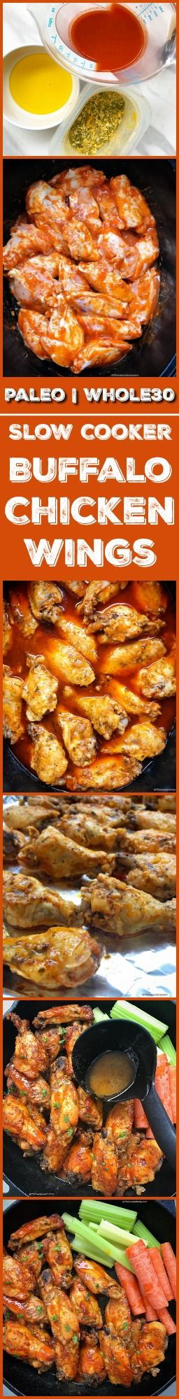 slow cooker crockpot paleo whole30  superbowl - Here are healthy slow cooker buffalo chicken wings that are lactose-free, paleo, whole30, and use a homemade ranch mix! Serve these wings at your next game-day gathering, potluck or weekday snack.