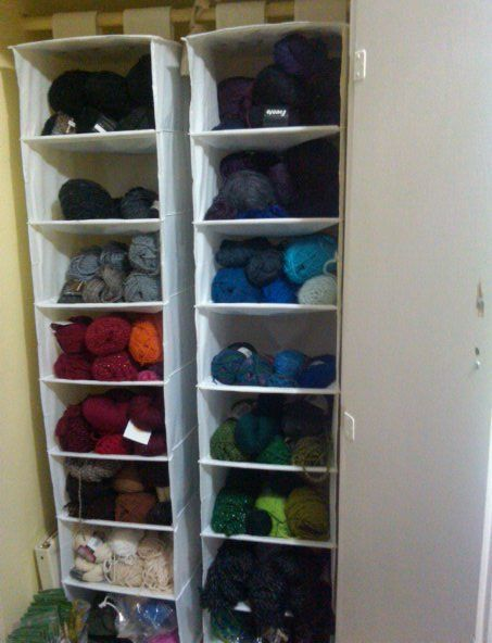 Genius! sweater shelves as yarn storage, this is going in my craft room closet!