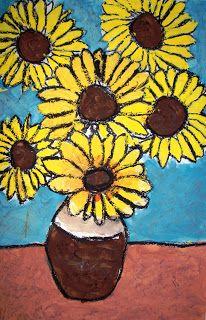 Spot of Color: 4th Grade Van Gogh Sunflowers