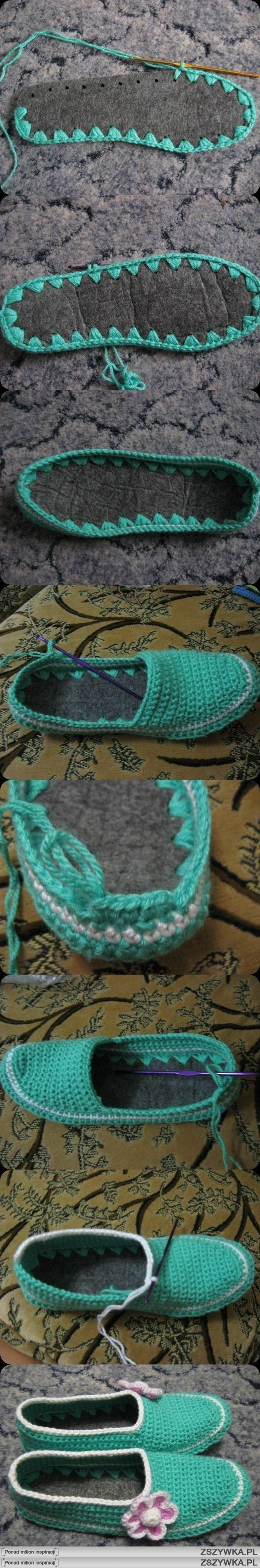 "crochet slippers, I have to try these!!! I know a little Bug that may love them..... [   ""Crocheted slippers with a thick felt sole."",   ""Great visual tutorial for slipper/shoes with felt soles."",   ""kapcie na DIY - Zszywka."",   ""Pantuflas crochet - Very cool! Love this idea"",   ""DIY crochet slippers, previous Pinner said ""I have to try these! I know a little Bug that may love them."",   ""Crochet slipper with an insole - I like this idea because my feet always hurt when I wear crochet…"