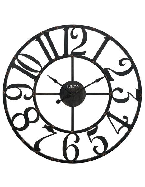 This massive, 45 inch over-sized wall clock arrives in sections with some assembly required. The light weight metal frame design makes it easy to assemble and hang. Over-sized metal case. Rustic brown finish. Large Arabic numerals . ....