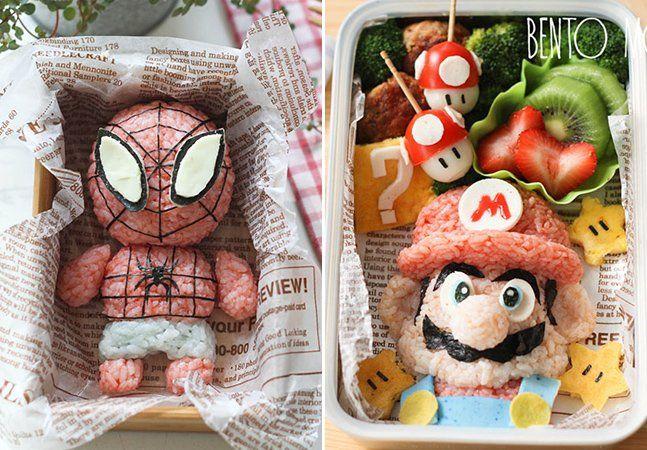 Qual a forma mais fácil de fazer com que uma criança coma seu almoço por inteiro, incluindo frutas e vegetais? Transformá-lo em uma grande brincadeira. E disso,Li Ming, da Singapura,entende muito bem. Mãe de dois filhos, de 7 e 10 anos, ela gasta mais de meia hora por dia só para transformar o almoço e o jantar dos pequenos em verdadeiras obras de arte. Inspirada em personagens como Hello Kitty, Mario, Bob Esponja e Homem Aranha, Li Ming usa os alimentos para criar cenários e monstrinhos…