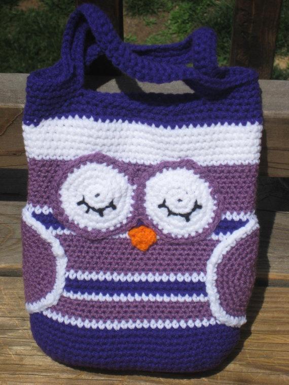 Purple Owl Tote by kalijames13 on Etsy, $32.50