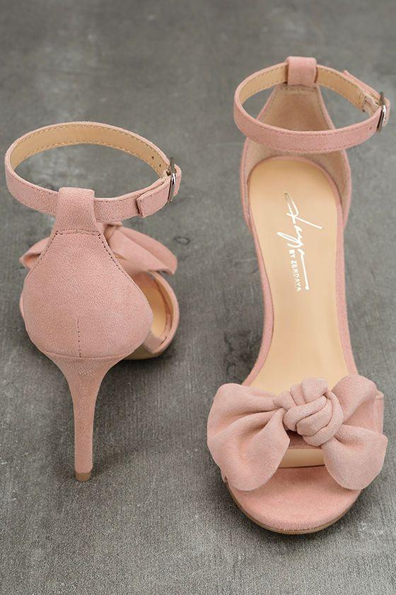 Daya by Zendaya Simms Blush Suede Leather Ankle Strap Heels