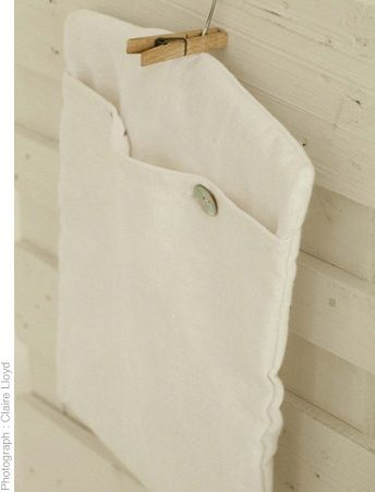 Linen peg bag with cotton corduroy lining and wooden hanger.  www.thestanleysupplystore.com
