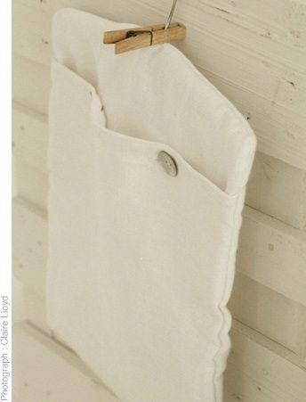 Linen peg bag with cotton corduroy lining and wooden hanger.  www.thestanleysupplystore.com