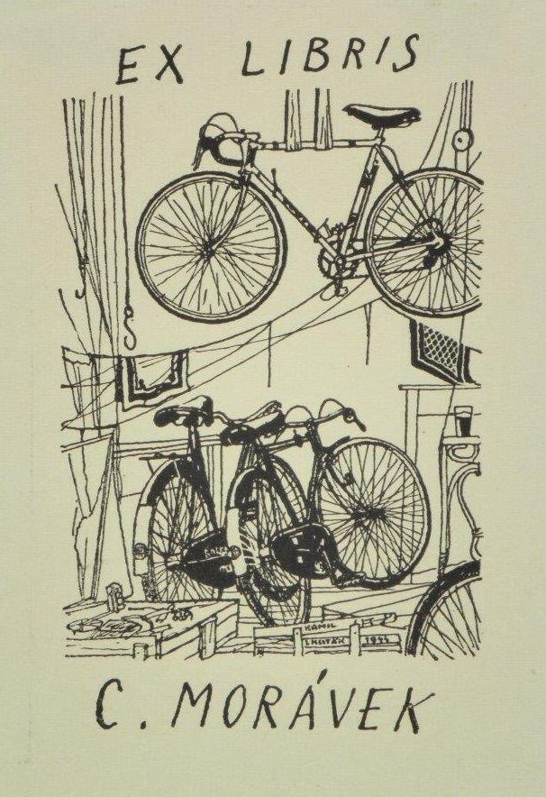 Kamil Lhoták (1912-1990), Czech / bookplate for C. Morávek, 1944 .. depicts several bicycles