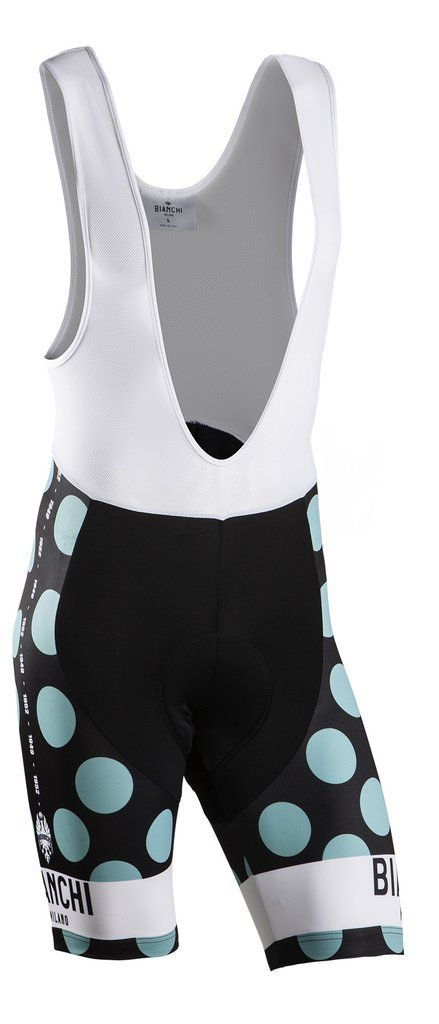 Bianchi-Milano Bib Shorts - Victory Celeste Polka Dot Bianchi-Milano Victory cycling bib shorts are ideal for training or long distance riding. The upper brace features breathable mesh to pull moistur
