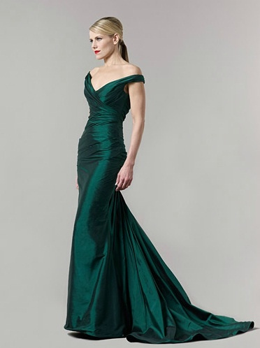 Royal green long evening dress (2011 collection)
