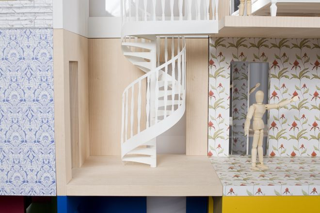 Lifeshutz Davidson Sandilands dollhouse is made of three-sided rooms that can be stacked. Image: Thomas Butler